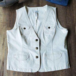 Tint Cream Color Denim Jean Vest